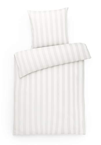 Carpe Sonno luxuriöse Mako Brokat Damast Bettwäsche 155 x 220 Silber Grau Streifen aus 100% gekämmter Baumwolle – Hotel-Bettwäsche Set mit Kopfkissen-Bezug und Blockstreifen - Made in Germany