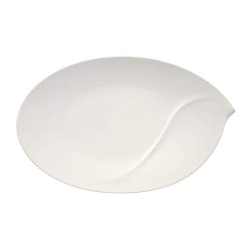 Villeroy & Boch 10-3420-2940 Flow Ovale Servierplatte, 47 cm, Premium Porzellan, Weiß