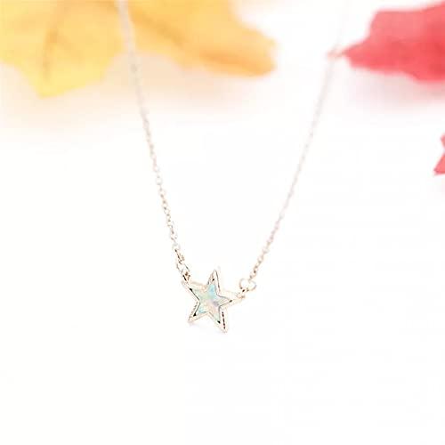 QiuYueShangMao Colgante de Collar Joyería de Moda Charm Star Gold Color Gargantilla Collar para Mujer Collares Pendientes de Acero Inoxidable Collares de Cadena para Regalo de Mujer Regalo para Ella