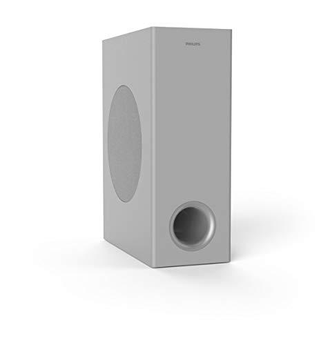 Philips HTL3325/10 Bluetooth Soundbar mit Subwoofer kabellos, TV Soundbar Bluetooth (Dolby Audio, 300 W, Kabelloser Subwoofer, HDMI ARC, USB, Niedrige Profil) Silber