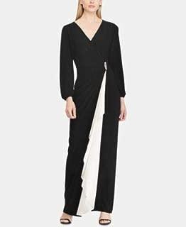 RALPH LAUREN Womens Black Brooch Jersey Gown Long Sleeve V Neck Maxi Evening Dress US Size: 4