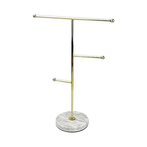 Amusingtao Organizador de joyas, Metal T-Bar Collar Display Stand Pendientes Holder para el hogar, Colgante Colgante Rack con patrón de mármol Bandeja redonda para pulseras Anillos Relojes (oro)
