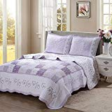Cozy Line Home Fashions Love of Lilac Bedding Quilt Set, Light Purple Orchid Lavender Floral Real Patchwork 100% Cotton Reversible Coverlet, Bedspread for Girls Women (Lilac, Queen - 3 Piece)