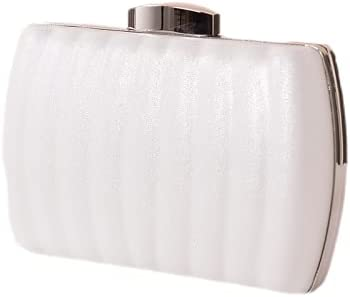JINGXU Women's Evening Dress Bag, Pleated Leather Texture Material,White