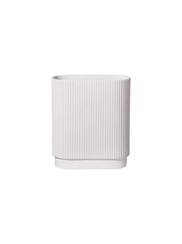 ASA - Artdeco - Vase - weiß matt - oval - Rillenstruktur - 17 x 8,5 cm - Höhe: 20 cm