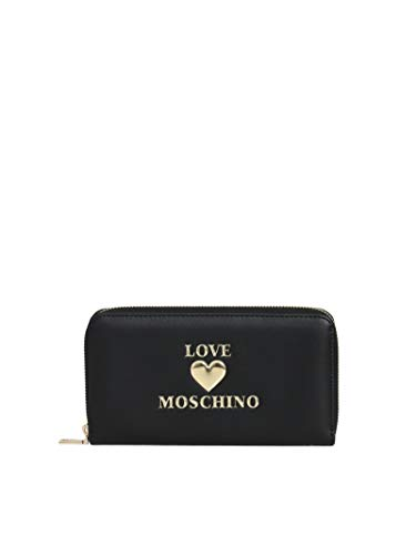 Moschino Portafoglio donna Love zip around in ecopelle nero AS21MO03 JC5617