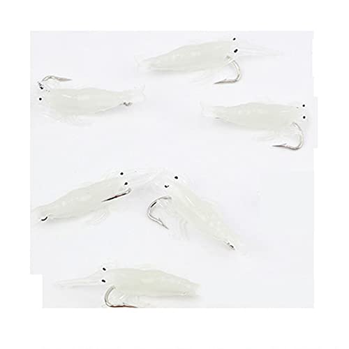 XDQ 20PCS Soft Shrimp Fake Lure Baits with Hooks, Small Size Lifelike Fishing Swimbaits, Artificial Fake Bait for Freshwater Saltwater for Bass (Color : White, Size : 4.5cm)
