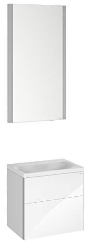Keuco Badmöbel-Set mit Waschtisch, Waschtisch-Unterbau mit Drehtür Hochglanz-weiß, LED Licht-Spiegel, Breite 50 cm, Anschlag Links Royal Reflex