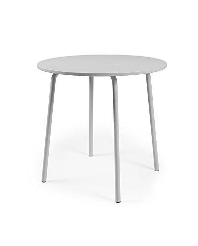 TENZO Lolly Designer Table Ronde, Acier, Gris, 90 x 90 x 76 cm