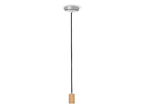 LED Vintage Schnurpendel, Hängeleuchte aus Kork, E27 Fassung, 150cm Textilkabel schwarz, LED Partylight