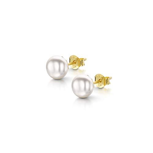 Amberta Pendientes de Botón para Mujer en Plata de Ley 925 con Perlas de Agua Dulce: Perla Blanca Chapada en Oro 6-7 mm