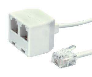 PRENDELUZ Prolongador de Cable telefónico (RJ-11 Doble Hembra 2,1M)