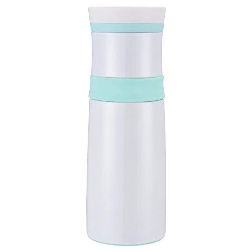 Muxue Tasse À Double Poche pour Femmes Thermos Cup, Tasse À Thé en Acier Inoxydable Incurvée, Vert, 0,5 L