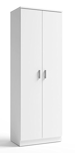 Armario Zapatero 2 Puertas en Color Blanco con estantes Interior de fabricación Nacional 60x35x171 cm