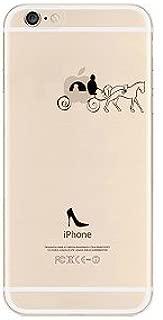 iPhone 8 Plus / 7 Plus Compatible, TPU Ultra Slim Translucent Silicone Clear Rubber Case Cover Case - Cinderella Princess Dream Castle Pumpkin Car Carriage