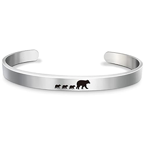 LiFashion Mama Bear Bracelet for Women,Stainless Steel Open Cuff Bangle Mama Bear with 1-6 Cubs Cuff Bracelets for Mom from Daughter,Son