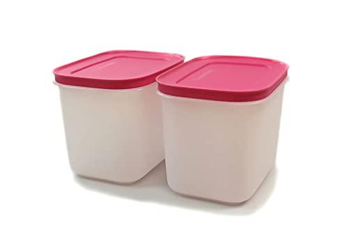 TUPPERWARE Gefrier-Behälter 1,1L pink-weiß hoch G35 (2) Eis-Kristall Eiskristall