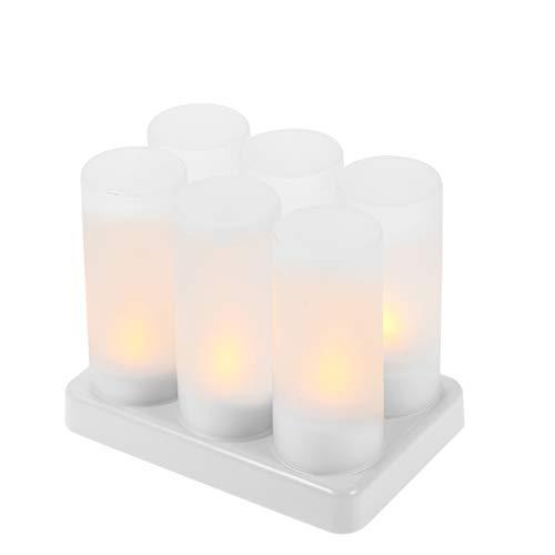 Decdeal LED-Kerzen, wiederaufladbar, flackernd, batteriebetrieben, flackernde Kerzen, mit mattierten Bechern, Ladefuß, gelbes Licht AC100–240 V, 6 Stück