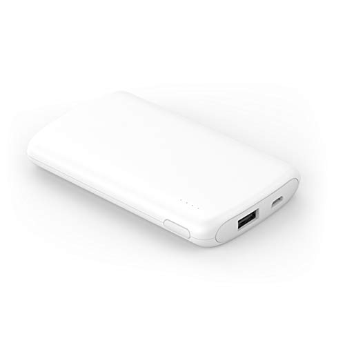 Pocket Power Bank 5000mah, 2.1a Fast Charger, Portable External Battery, Compatible with Iphone, Xiaomi, Samsung, Huawei, Tablets and Other Usb Devices (Color : White)
