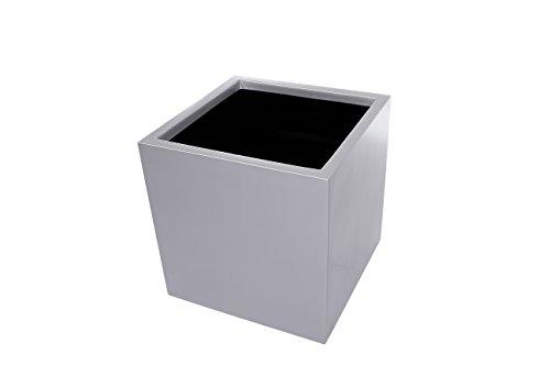 Primrose Würfelförmiger Blumenkübel aus Verzinktem Stahl - Silber - 2er-Set Mittel