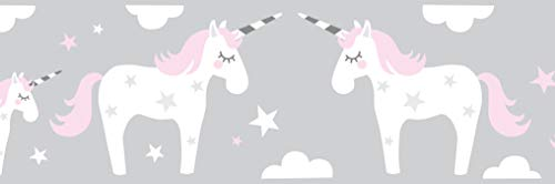 lovely label Bordüre selbstklebend Einhorn ROSA/GRAU - Wandbordüre Kinderzimmer/Babyzimmer mit Einhörnern und Sternen - Wandtattoo Schlafzimmer Mädchen & Junge – Wanddeko Baby/Kinder