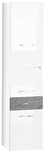 FACKELMANN Hochschrank SCENO/gedämpfte Scharniere & Soft-Close-System/Maße (B x H x T): ca. 40 x 175,5 x 36 cm/Türanschlag frei wählbar/Korpus: Weiß/Front: Weiß/Unterer Schub: Schwarz