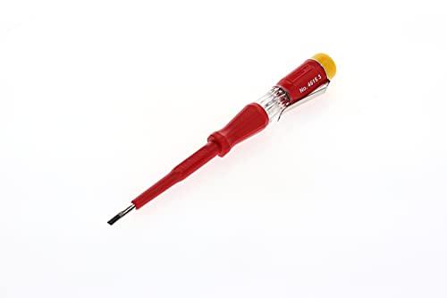 GEDORE 6699110 Prüfschraubendreher für 220-250Volt Wechselspannung, 3 mm Klingenbreite, Mit Metallclip und gelber Kappe