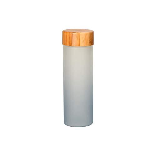 Botella de cristal esmerilada mate de cristal sodalime con funda de neopreno para llevar bebidas frías y calientes, sin BPA, para viajes, de bambú, de 0,4 l