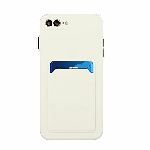 TYWZ Tarjetero suave funda para iPhone 8 Plus/7 Plus, de silicona fina, con soporte para tarjetas, carcasa trasera, resistente a los arañazos, color blanco