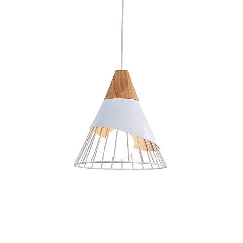 Iluminación Colgantes de la Forma de bádminton Creativa nórdica, lámparas de Techo Sala de Estar Comedor Estudio Lámpara araña de Madera sólida Moderna del LED E27 Colgando Candelabro (Blanco)