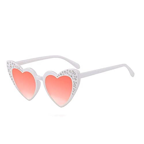 XUANTAO Amor niños Gafas de Sol Diamante melocotón corazón protección UV Gafas de Sol clásicas Diamantes de imitación en Forma de corazón Marco Blanco película de Mercurio Rojo