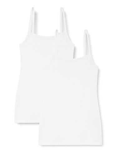 Marca Amazon - IRIS & LILLY Camiseta Interior Térmica Ligera de Tirantes para Mujer, Pack de 2, Blanco (Blanco), XL, Label: XL