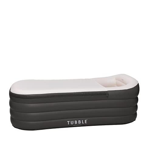 Tubble® Aufblasbare Badewanne für Erwachsenen - größe 255 Liter, neues Model & viel stärkerer Reißverschluss - Black Onyx - Badreiniger und Wasserkissen enthalten