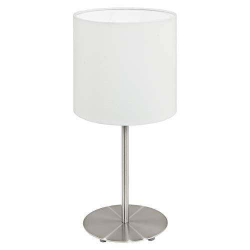 EGLO tafellamp Pasteri, 1 vlammig textiel tafellamp, materiaal: staal, stof, kleur: nikkel mat, wit, fitting: E27, incl. schakelaar, H: 40 cm