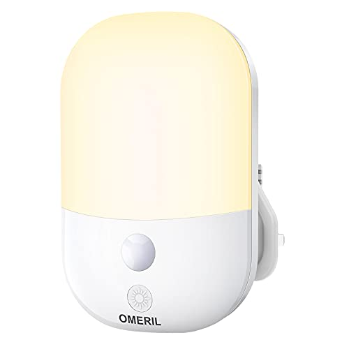 OMERIL Night Light, LED Plug In Night Light with Auto Dusk to Dawn Sensor/Manual Switch Mode, 5 Adjustable Brightness, Night Light Plug in Wall for Kids, Bedroom, Hallway, Stairs, Landing