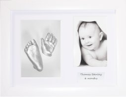 BabyRice Baby Casting Kit/White Frame, 3 Aperture/Silver Hand & Foot Casts