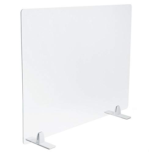 PLEXIDIRECT - Spuckschutz Plexiglas Schutzwand Thekenaufsatz Trennwand Büro Schreibtisch Acrylglas Büroschirm Niesschutz, 3mm Schirm, MOXI Tischfuß Aluminium Weiß, 1500 x 650 mm (BxH)