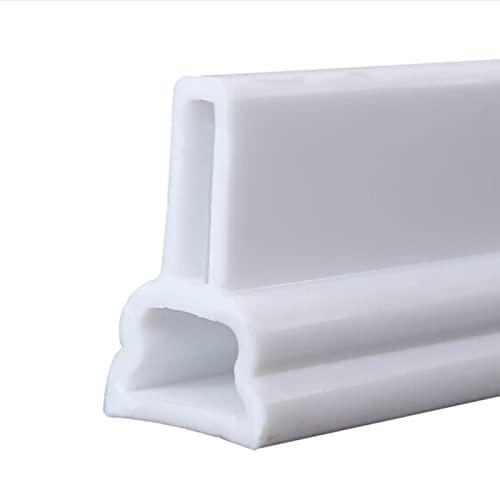 SJASD Tira Impermeable de Sellado de mampara de Ducha,Ducha Presa de Puerta Plegable,Barrera de Ducha y Sistema de Retención,Adecuado para Cocina y Baño,Blanco,150cm(59in)
