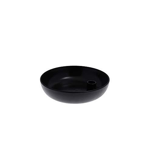 Storefactory - Lidatorp - Kerzenleuchter, Kerzenständer - Farbe: Schwarz glasiert - Keramik - Maße (ØxH): 15 x 5 cm