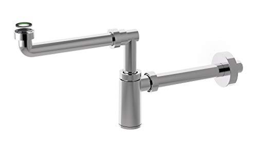 Sifón de lavabo de diseño DN32-5/4 pulgadas, sifón de ahorro de espacio para lavabo, desagüe de plástico ABS, acortable, diseño bonito de 1 1/4 pulgadas (sifón de botella)