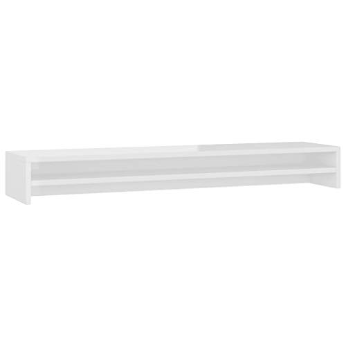 vidaXL Monitorständer Schreibtischaufsatz Monitorerhöhung Bildschirm PC Regal Aufsatz Bildschirmerhöhung Hochglanz-Weiß 100x24x13cm Spanplatte