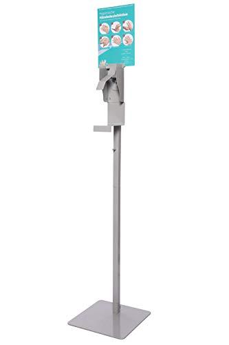 Husaria Desinfektionsmittel-Ständer Aufsteller Desinfektionsmittel-Station mit Standfuß aus Metall universal ST-22 (grau)