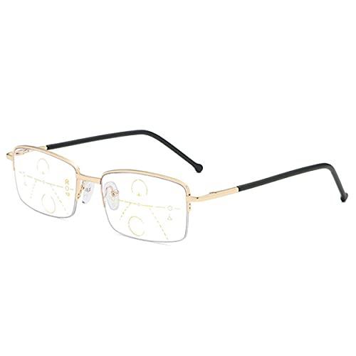 HAOXUAN Anteojos de Lectura Anti-Azul, Zoom Inteligente/Multifocal Progresivo/Anteojos para Ancianos De Doble PropóSito Lejanos Y Cercanos, DioptríAs +1,00 A +3,00,Oro,+1.50