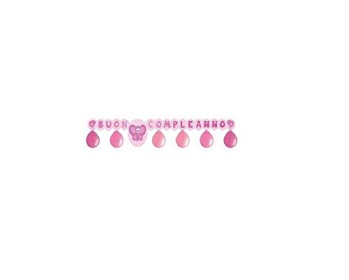 giocoplast Festone Tanti Auguri con 6 palloncini Nascita Compleanno Bambina Femmina 1,8 m