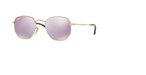 Ray-Ban HEXAGONAL Gold Lilac Mirror 48mm RB3548N 001/8O Small Sunglasses