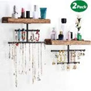 Imncya Hanging Wall/Door Mounted Jewelry Organizer Wood Rustic, Home Decoration Necklace Storage Holder with Wooden Shelf Display Bracelet, Earrings, Rings and Accessories(Set of 2)