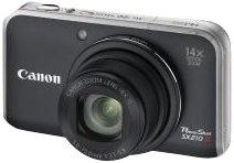 Canon Powershot SX210 IS Fotocamera Digitale 14.1 Megapixel, colore : Nero