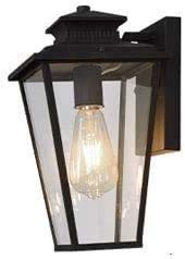 Lámpara De Pared Simple Y Fresca Aaedrag transparente vidrio trapezoidal exterior linterna al aire libre impermeable pared lámpara de pared original simple luz mate negro e27 para balcón puerta jardín