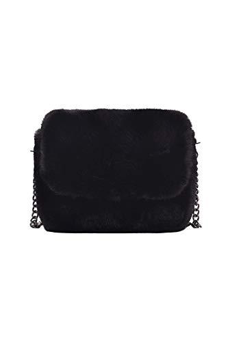 Ulisty Damen Herbst Winter Klein Kunstpelz Schultertasche Flauschige Quadratische Tasche Kettenriemen Umhängetasche Plüsch Handtasche schwarz