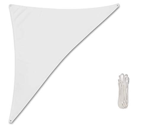 Rollmayer Sonnensegel Sonnenschutz, Terrasse & Garten & Balkon & Camping, Wetterschutz, windabweisend & wasserabweisend mit UV Schutz Kollektion Oxford (Weiß, Dreieck 1.2x1.2x1.7m)